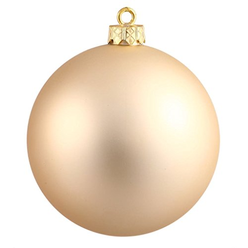 Matte Ball - Vickerman Drilled UV Matte Ball Ornaments, 2.75-Inch, Champagne, 12-Pack