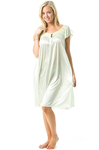 Casual Nights Women's Satin Nightgown Embroidered Lace Cap Sleeve - Light Green - Medium