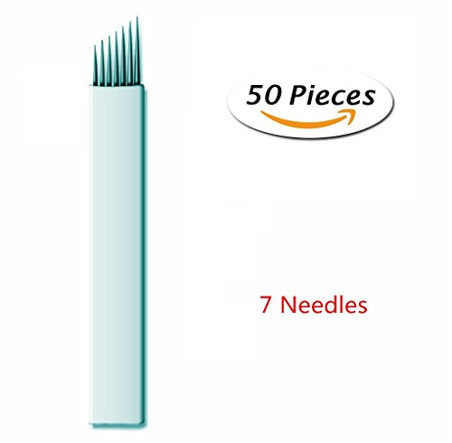 Pinkiou 50 Pcs Microblading Needles Permanent Makeup Manual Tattoo Eyebrow Blade Bevel For Eyebrow Tattoo Pens (7 Pin)