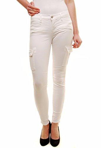 Pantalones Flaco Blanco 1550k120 Mujer J Military Brand Cremallera Cargo FwBTWvqR