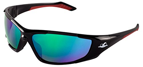 Bullhead Safety Eyewear BH1251612 Javelin, Black Frame, Polarized Green Mirror Lens, Black TPR Nose, Red Temple (1 - Bullhead Sunglasses