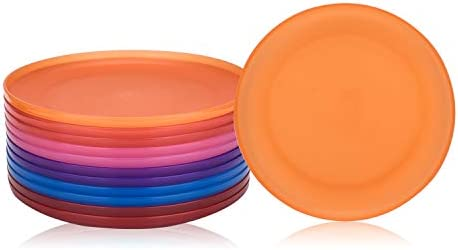 Unbreakable and Reusable 9,75-inch Plastic Dinner Plates, Set of 12 Bright Color, Microwave/Dishwasher Safe, BPA Free