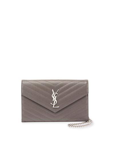Saint Laurent Monogram YSL Large V-Flap Grain de Poudre Calfskin Wallet on Chain Made in Italy (Asphalt)