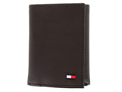 Tommy Hilfiger Men's Brown Genuine Leather Tri-Fold Wallet