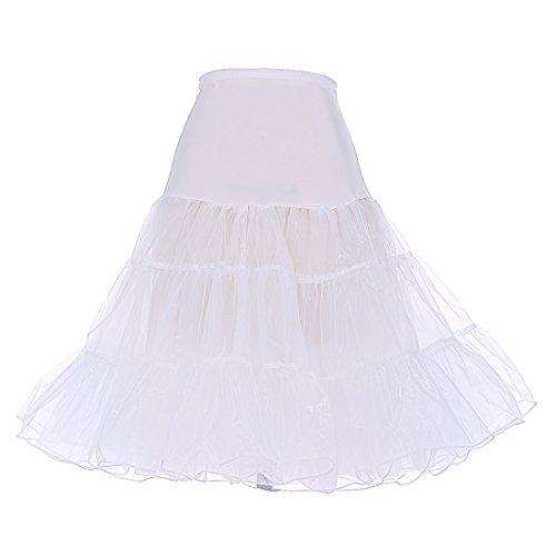 Dresstells Women's Vintage Rockabilly Petticoat Skirt Tutu 1950s Underskirt ivory M