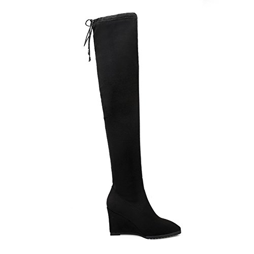 Solid Boots Women's High Frosted AgooLar Closed Heels Top High Pointed Black Toe Oxq8v