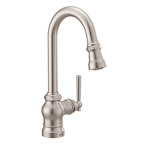 Moen S52003SRS Paterson One-Handle Pulldown Bar Faucet with Power Clean, Includes Interchangeable Handle, Spot Resist Stainless