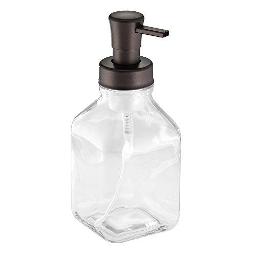 InterDesign Cora Glass Foaming Soap Dispenser Pump for Kitchen or Bathroom Sinks, Clear/Bronze by InterDesign