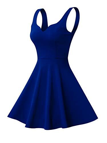 Missufe Women's Sleeveless Sweetheart Flared Mini Dress (Large, Blue)