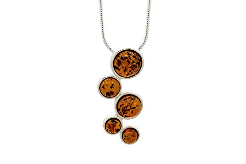 925-Sterling-Silver-Circles-Pendant-Necklace-For-Women-with-Genuine-Natural-Baltic-Amber-Chain-included