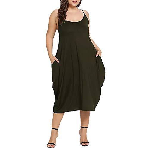 HYIRI Womens Fashion Long Dress Low Cut Sleeveless Backless Loose Sling Dress