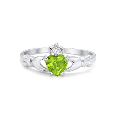 Blue Apple Co. Irish Claddagh Heart Promise Ring Simulated Peridot Round CZ 925 Sterling Silver, Size-8
