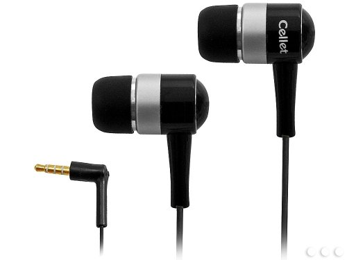Cellet Stereo Earphones for Apple iPhone 3 3GS 4 4s 5 5s 5c HTC One Samsung S3 S4 S5 Note 2 - Bluetrek Headset Black