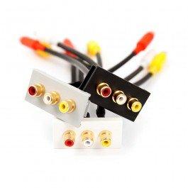 3 x RCA de audio (rojo, blanco, amarillo) acoplador negro módulo de