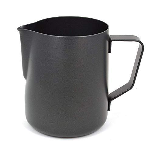 (Milk Pitcher-Sharp-Nosed Stainless Steel Coffee Pull Cup Milk Foam Tank Fancy Coffee Accessories Milk Jug Black,600ml)