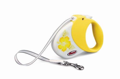 Flexi Hawaii Retractable Belt Dog Leash, Small/Medium, 16-Feet Long, Supports 33-Pound, Yellow Hibiscus