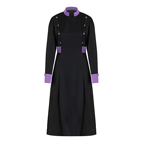 Ahagogo Halloween Vintage Style Dress Long Sheeve Ladies Edieval Color Interlocking Mid-Length Retro Dress Purple