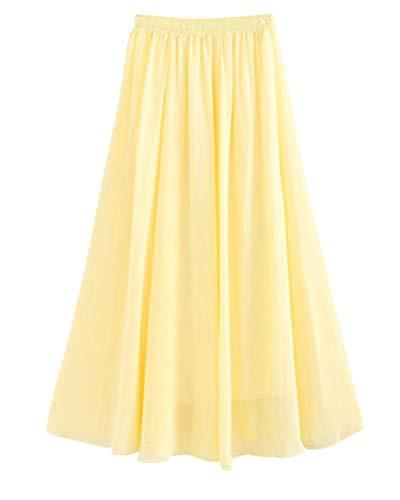 Mengmiao Femme Taille lastique Mince lgante Couleur Unie Boheme Jupe Longue Baggy Jaune Clair