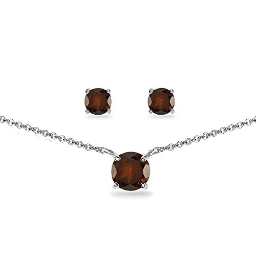 (GemStar USA Sterling Silver Garnet Round Solitaire Choker Necklace and Stud Earrings)