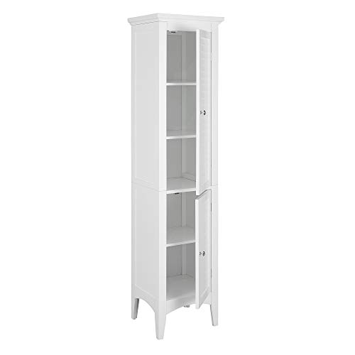 Elegant Home Fashions Glancy Linen Tower Freestanding Cabinet Tall Narrow Bathroom Kitchen Living Room Storage with 2…
