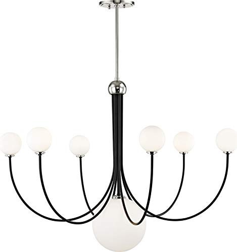 Mitzi by Hudson Valley Milla 5 light Polished Nickel Chandelier with White Shade