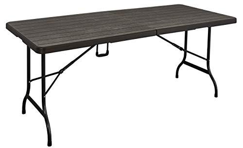 KitGarden - Mesa Plegable Multifuncional Imitacion Madera, 180x75x74cm, Marron, Wood 180