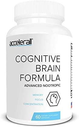 ACCELERALL Extra Strength Nootropic Brain Formula – Natural Memory, Focus Concentration – Supports Brain Function with DMAE, Ginkgo Biloba Bacopa, 60 Capsules