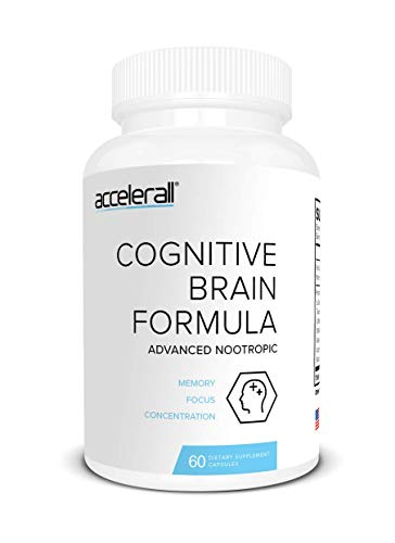 (ACCELERALL Extra Strength Nootropic Brain Formula - Natural Memory, Focus & Concentration - Supports Brain Function with DMAE, Ginkgo Biloba & Bacopa, 60 Capsules)