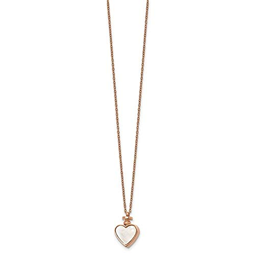 Stainless Steel Polished Rose IP With MOP And Black Agate Reversible Heart Necklace ()