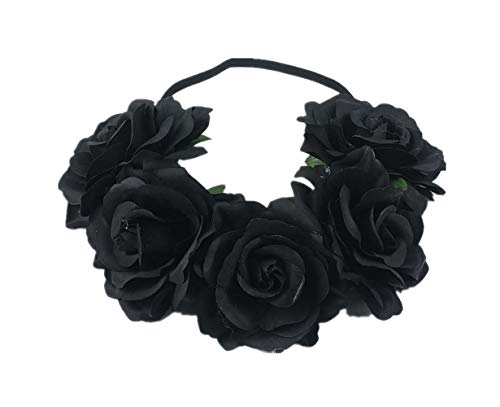 - Love Fairy Bohemia Stretch Rose Flower Headband Floral Crown for Garland Party (Black)