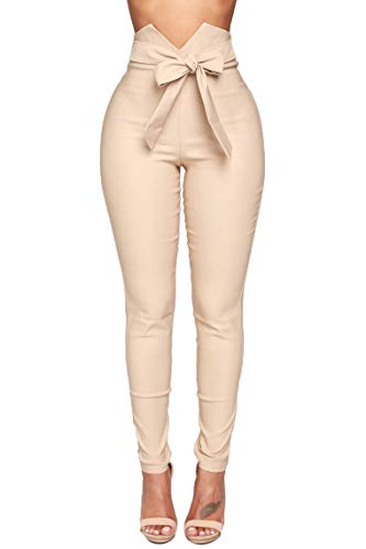 Pofash Women's Slim Paper Bag Waist Pants Trousers Legging with Front Tie Bow Khaki Medium