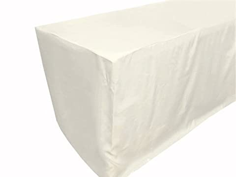 URBY 8 ft Fitted Polyester Tablecloth Ivory