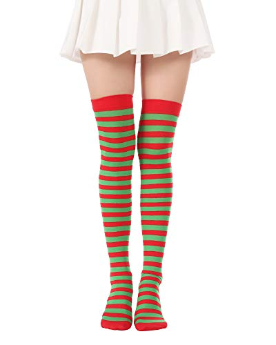 Over Knee Long Striped Stockings Saint Patrick's Day Socks Costume Thigh High Tights(01 Red Green Tights) -