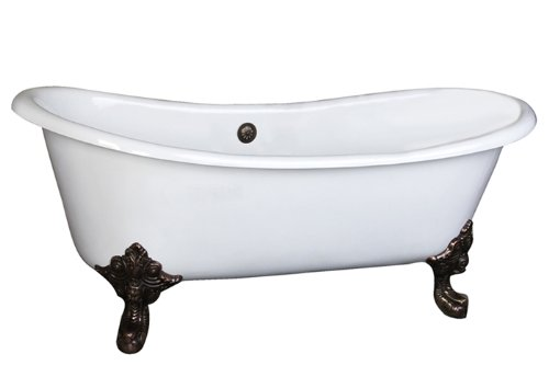 Barclay Cast Iron Slipper Tub (Barclay CTDSN73L-WH-CP Nelson Cast Iron Double Slipper Tub In White/)