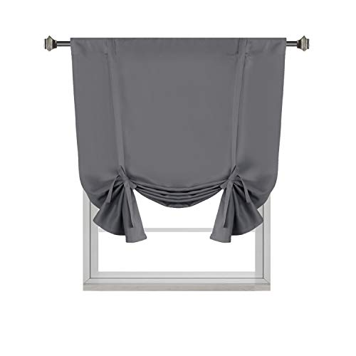 H.VERSAILTEX Solid Blackout Energy Efficient Tie Up Shades -Rod Pocket Panel for Bedroom Grey 42W x 63L (Set of 1 Panel) (Up Curtains Tie Blackout)