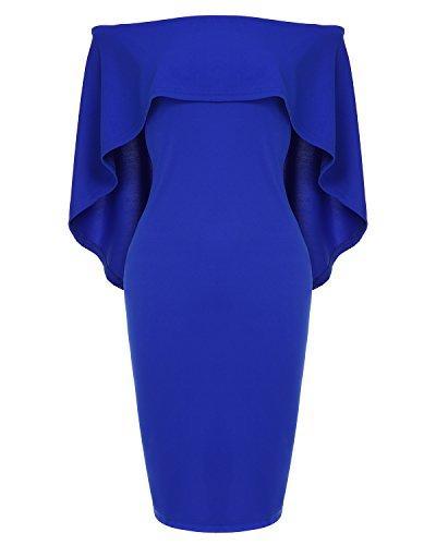 (Womens Off The Shoulder Cocktail Party Dress Batwing Cape Midi Dress)
