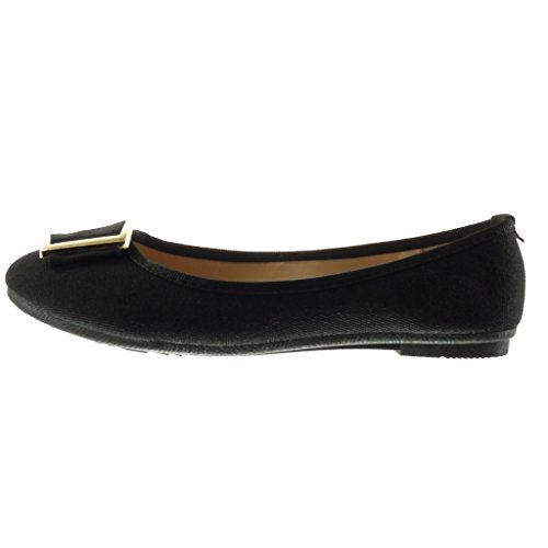 Flat Shoes Women's Ballet cm Slip Fashion Metallic on Black 1 Braided Angkorly Shoes Flat Heel nvaSURpxp