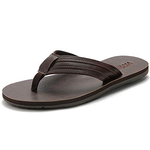 - BODATU Men's Flip Flops Athletic Leather Thong Sandals Brown