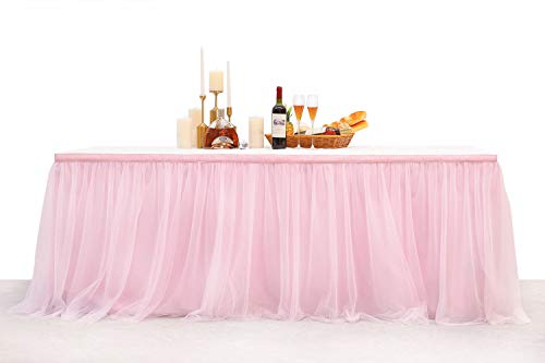 (TS&HOME Table Skirts 4.5Yard 14FT High-End Gold Brim Anti-Wrinkle Pink Tulle Tutu Tablecloth Long or Round Table Festival Decoration for Wedding, Baby Show, Birthday Party, Home Party. (Pink,)