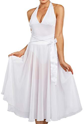 (Dreamgirl Women's Blonde Bombshell Vintage Movie Star Costume Dress, White)