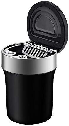 Hokyzam Auto Mülleimer Aschenbecher Abfalleimer Multifunktions Zigaretten Edelstahl Aschenbecher Abfalltasche Organizer Müllcontainer mit LED Anzeige