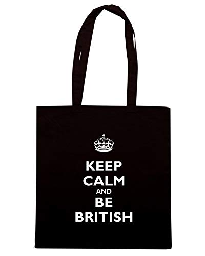 Speed Shirt Borsa Shopper Nera TKC0596 KEEP CALM AND BE BRITISH