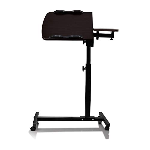 Gallity Classics Portable Pneumatic Sit-Stand Mobile Desk Cart With Rolling casters, Mobile Laptop Desk with Side Table,Height-Adjustable from 65-95cm (dark walnut)