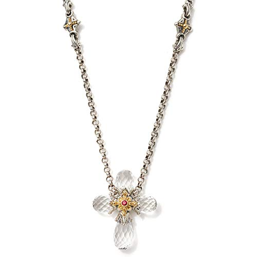 Konstantino Women's Sterling Silver, 18K Gold, Crystal and Corundum Cross Necklace, 36 IN