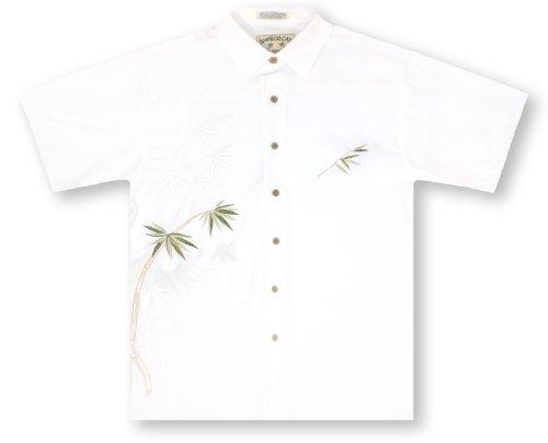 Bamboo Mens Aloha Shirt - Bamboo Cay Bamboo - Off White Hawaiian Shirt