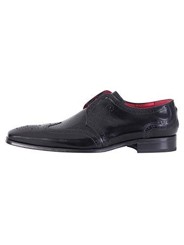 Jeffery Hommes Occidentaux Chaussures Brillant, Noir Noir