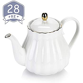 Amazingware Royal Teapot, Porcelain Tea Pot with Stainless Steel Infuser, with a Filter for Loose Tea, Pumpkin Fluted Shape - 28oz, White