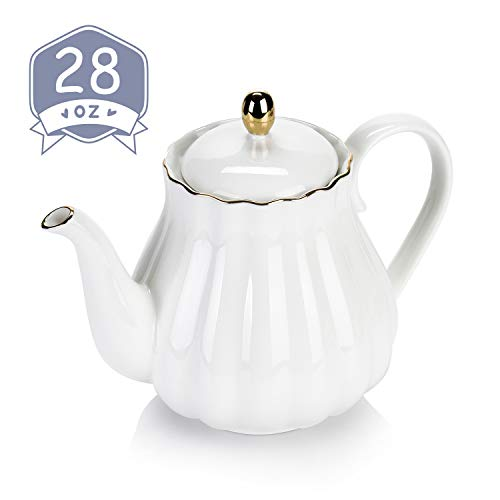 Amazingware Royal Teapot, Porcelain Tea Pot with Stainless Steel Infuser, with a Filter for Loose Tea, Pumpkin Fluted Shape- 28oz, White