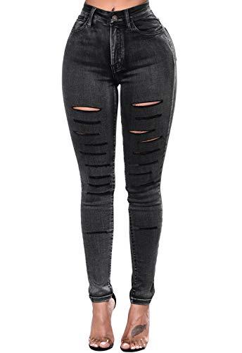 GOSOPIN Women High Waist Destroyed Ripped Skinny Distressed Denim Jeans X-Large 018 Black ()