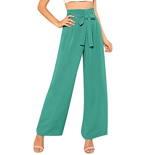 JOFOW Wide Leg Pants Women Casual Solid High Waist Bowknot Tie Strappy Straight Leg Elegant Workwear Extra Long Trousers (L,Green - Mayhem Youth Pant